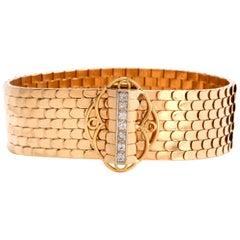 Vintage Retro French 18 Karat Gold Fish Scale 1950s Wide Bracelet