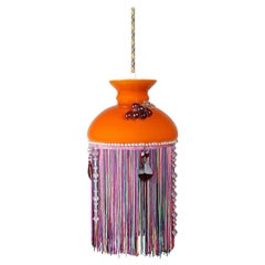 Vintage Retro Funky Orange Tassel Pendant, 20th Century