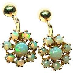 Vintage Retro Gold Natural Opal Earrings Gem Stone, circa 1980