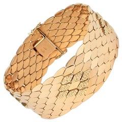 Vintage Retro Italian 18 Karat Gold Honeycomb Link Bracelet, 1950s