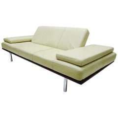Vintage Retro Ivory Leather Italian Sofa Bed