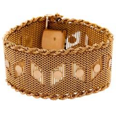 "Vintage Retro Mid Century Woven 18K Gold Bracelet, 7 3/4"" long"