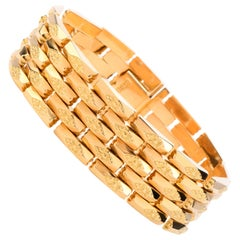 Vintage Retro Panther Desgin Wide 18 Karat Yellow Gold Bracelet