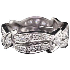 Vintage Retro Platinum Diamond Eternity Band