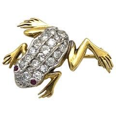Vintage Retro Ruby Diamond Gold Frog Brooch