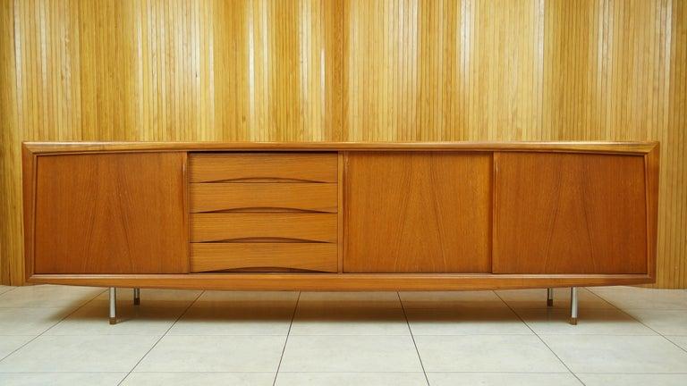 Danish Sideboard Credenza : Vintage retro teak danish sideboard credenza by gunni omann for aco
