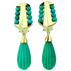 Vintage/ Retro Turquoise Drop/Dangle Clip-On Earrings in Yellow Gold