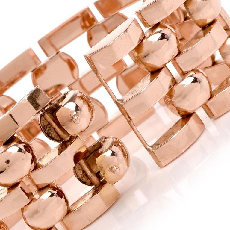 Vintage Retro Wide Tank Track 18 Karat Rose Gold Bracelet In Good Condition For Sale In Miami, FL
