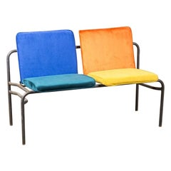 Vintage Reupholstered Colourful Stacking Benches, 20th Century