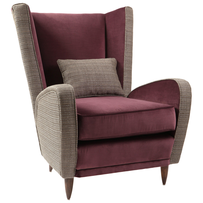Vintage Reupholstered Midcentury Italian Armchair