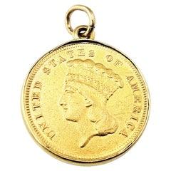 Vintage Reversible 900 Gold Floral Enamel $3 Indian Princess Head Coin Pendant