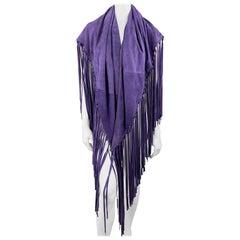 Vintage Reversible Purple Wool & Suede Fringe Shawl