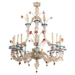 Vintage Rezzonico Murano Glass Chandelier