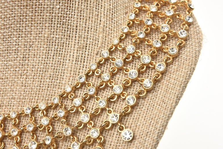 Vintage Rhinestone and Gilded Metal Cascading Bib Necklace  For Sale 5