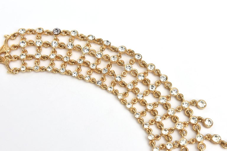 Modern Vintage Rhinestone and Gilded Metal Cascading Bib Necklace  For Sale