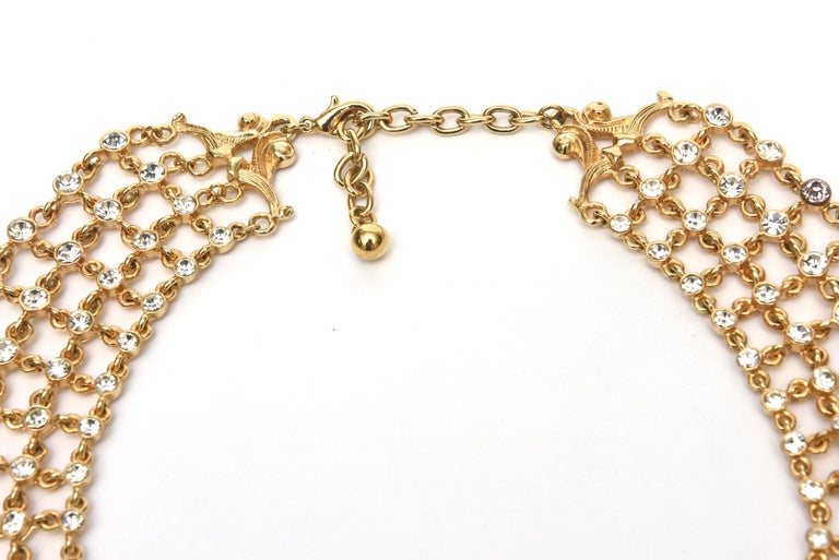 Vintage Rhinestone and Gilded Metal Cascading Bib Necklace  In Good Condition For Sale In North Miami, FL