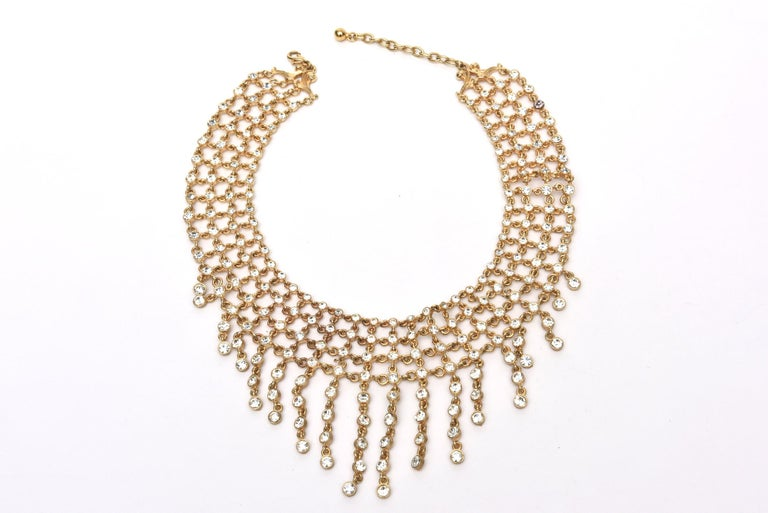 Women's Vintage Rhinestone and Gilded Metal Cascading Bib Necklace  For Sale
