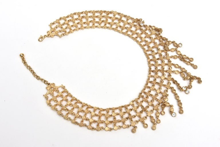 Vintage Rhinestone and Gilded Metal Cascading Bib Necklace  For Sale 1
