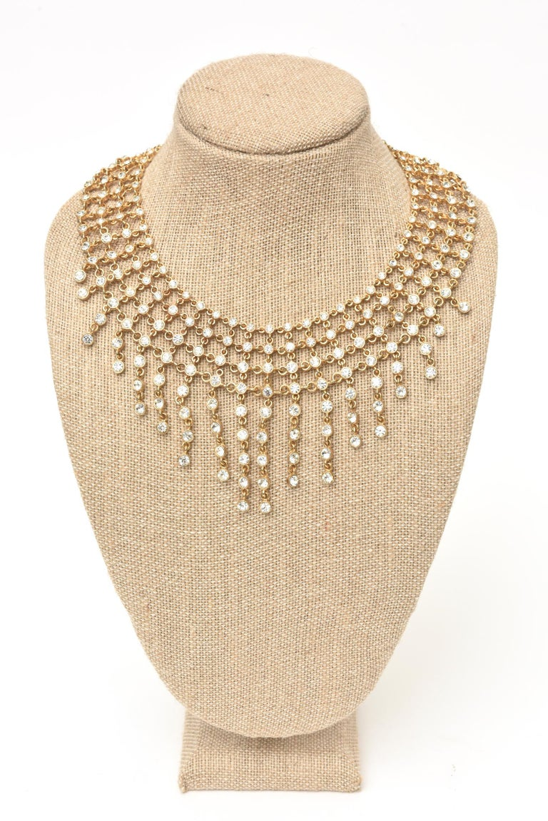 Vintage Rhinestone and Gilded Metal Cascading Bib Necklace  For Sale 3
