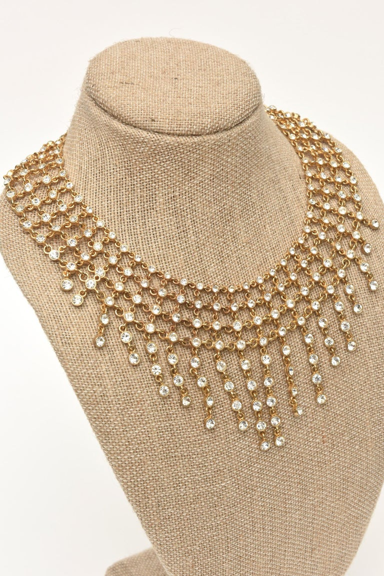 Vintage Rhinestone and Gilded Metal Cascading Bib Necklace  For Sale 4