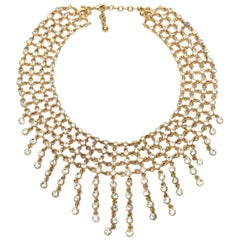 Vintage Rhinestone and Gilded Metal Cascading Bib Necklace