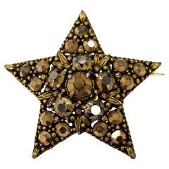 Vintage Rhinestone Brooch Designer Signed WEISS Gold Star Brooch or Pendant