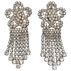 Vintage Rhinestone Floral Chandelier Earrings 1980s