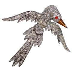 Vintage Rhinestones Pot Metal Bird Brooch 1930's