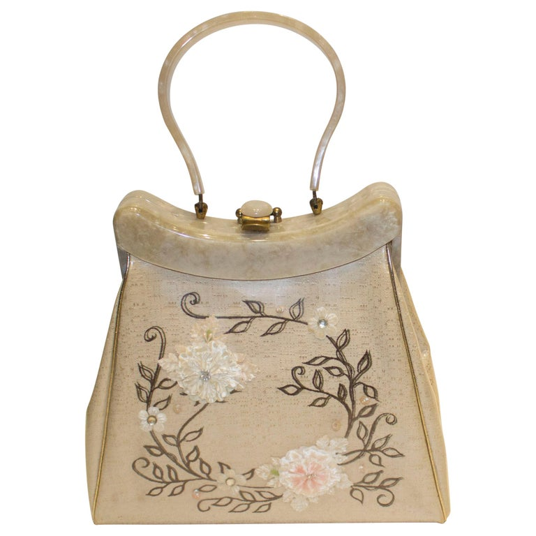 Vintage Rialto New York Silk Embroidered Plastic Overlay Bag with BakeliteHandle