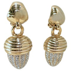 Vintage Ribbed Capped Crystal Drop Earrings