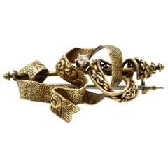Vintage Ribbon Diamond Pin 10 Karat Yellow Gold