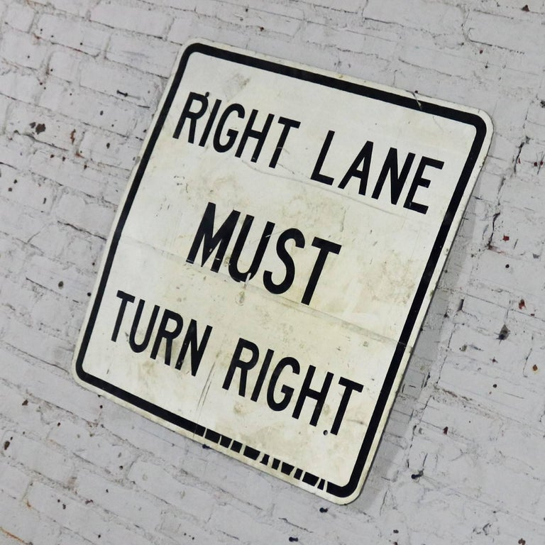 North American Vintage Right Lane Must Turn Right Large Steel Traffic Sign For Sale