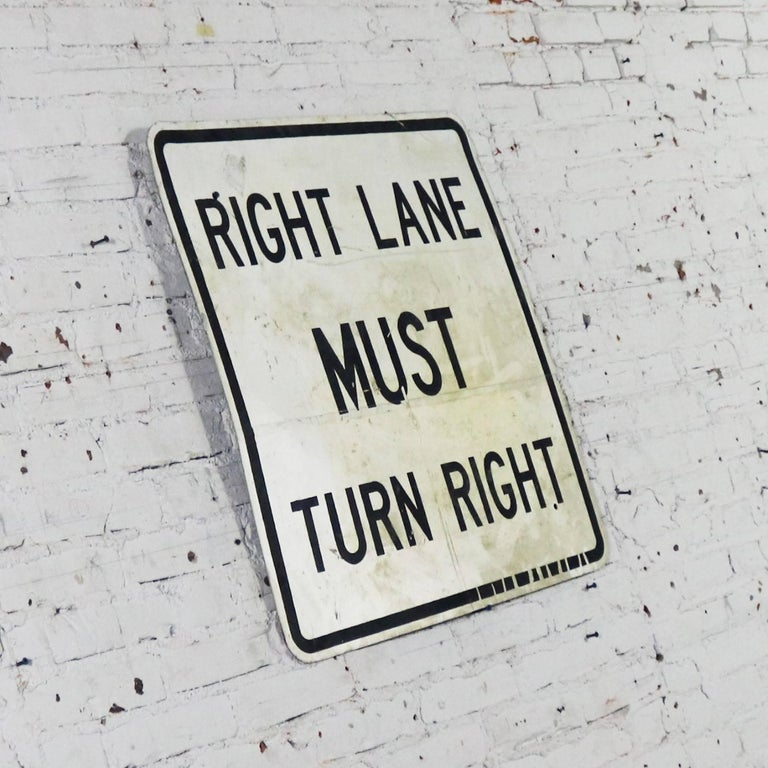 Vintage Right Lane Must Turn Right Large Steel Traffic Sign In Good Condition For Sale In Topeka, KS