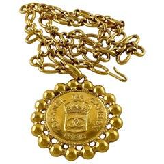 Vintage RIHANNA CHANEL Logo Heraldic Seal Medallion Necklace