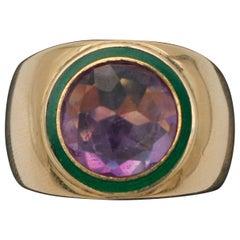 Vintage Ring Big Central Amethyst, 18 Karat Yellow Gold