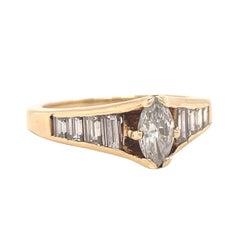 Vintage Ring Diamond 14 Karat Gold Engagement Ring