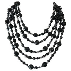 Vintage R.J. Graziano Multi-Strand Black Glass Bead Bib Necklace