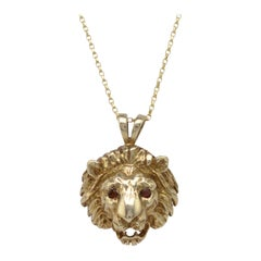 Vintage Gold Lion Pendant Necklace With Garnet Gemstone Eyes