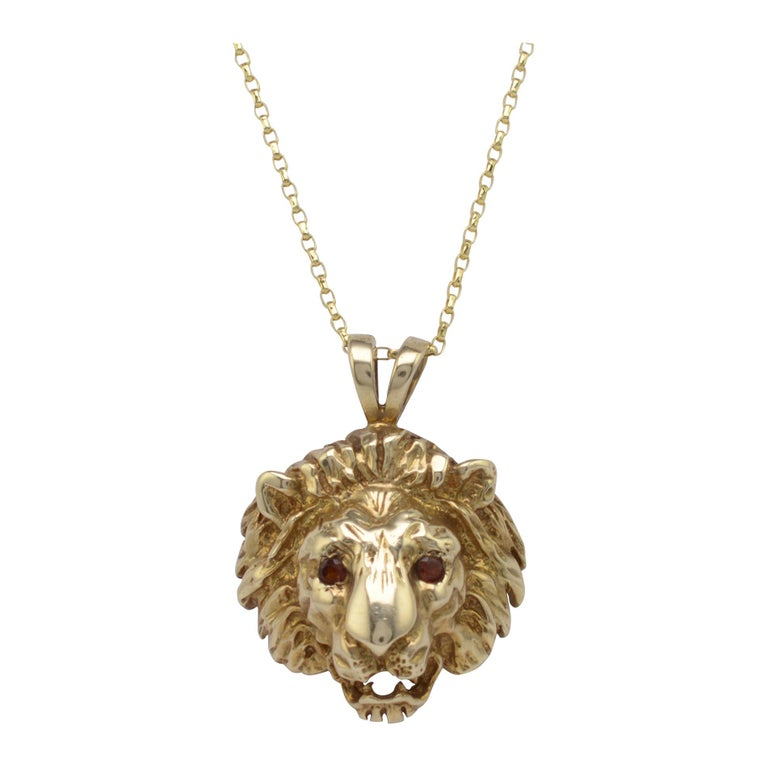 Solid Gold & Garnet Lion Pendant Necklace, Hallmarked Vintage 1970s  For Sale