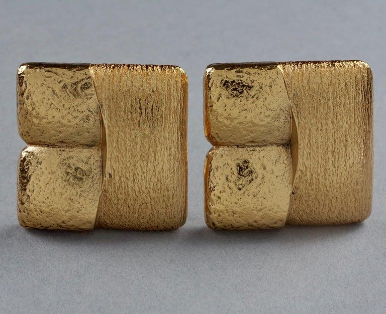 Vintage ROBERT GOOSSENS Mondrian Cubism Earrings In Excellent Condition For Sale In Kingersheim, Alsace