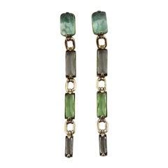 Vintage ROBERT GOOSSENS Rock Crystal Multicolour Dangling Earrings