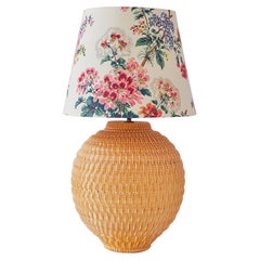 Vintage Robert Koska Table Lamp with Customized Shade in Textile, France 1960's