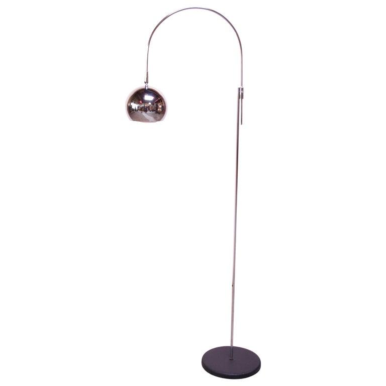 Vintage Robert Sonneman Chrome Adjustable Arc Lamp For