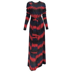 Vintage Roberta di Camerino Red and Blue Optical Print Maxi dress 1977