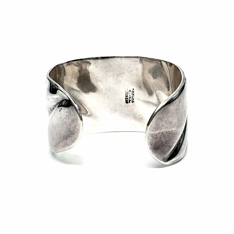 Women's Vintage Roberto Ballesteros Mexico Sterling Silver Wide Cuff Bracelet For Sale