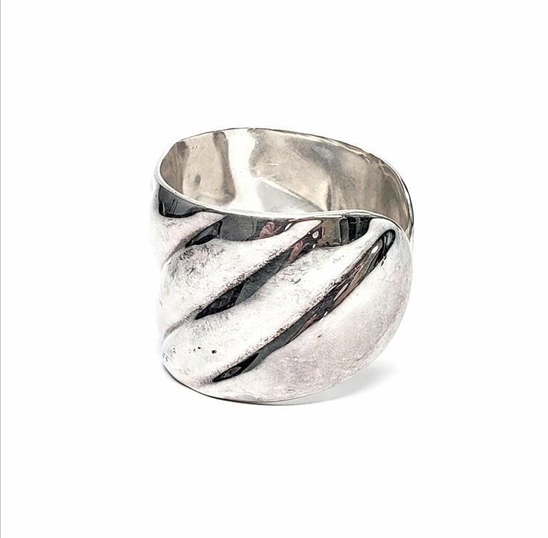 Vintage Roberto Ballesteros Mexico Sterling Silver Wide Cuff Bracelet For Sale 1