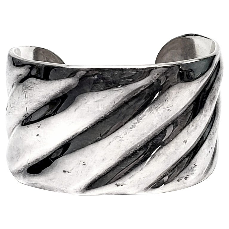Vintage Roberto Ballesteros Mexico Sterling Silver Wide Cuff Bracelet For Sale