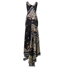 Vintage Roberto Cavalli Black Satin Floral Evening Gown with Metal Tassels