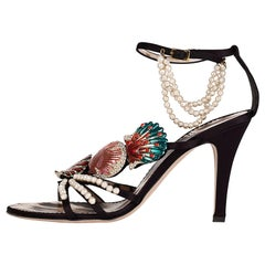 Vintage Roberto Cavalli Shoes with Crystal Embellished Seashells and Pearls