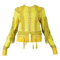 Vintage Roberto Cavalli Yellow Leather Fringe Jacket 2006